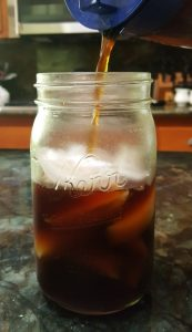 homemade cold brew coffee poured over ice